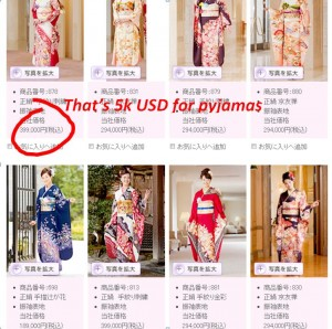 Kimono prices in Japan